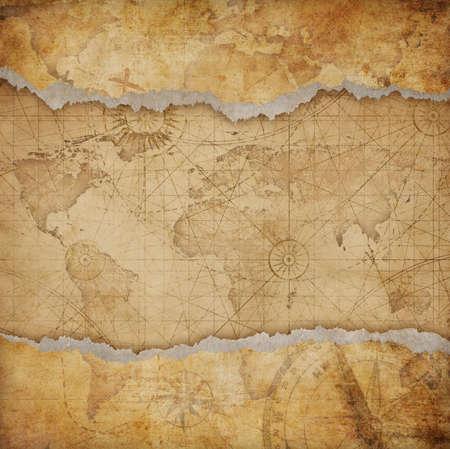 Vintage torn world map Imagens