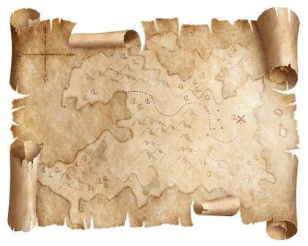 Ancienne carte au trésor usée isolée