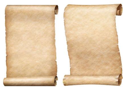 Zestaw zwojów papieru lub pergaminu na białym tle