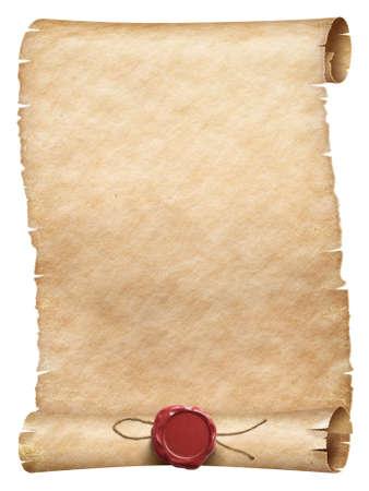 Antiguo rollo de pergamino con sello de cera con hilo aislado
