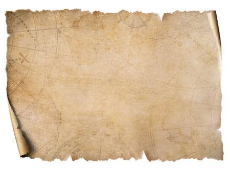 Pergamena d'epoca mappa del tesoro isolata su bianco