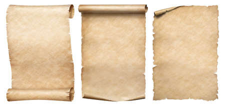 Three vintage paper or parchments collection isolated on white 写真素材