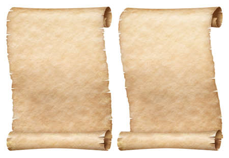 Similar paper or parchment scrolls set isolated on white