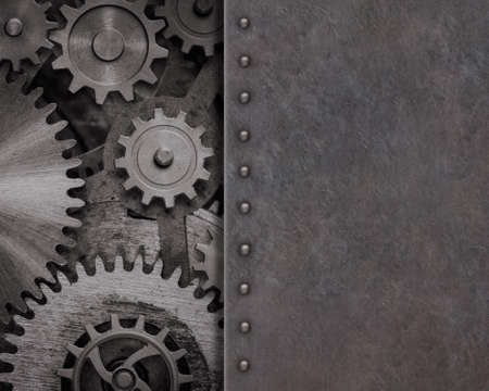 Rusty metal background with gears and cogs 3d illustration 스톡 콘텐츠
