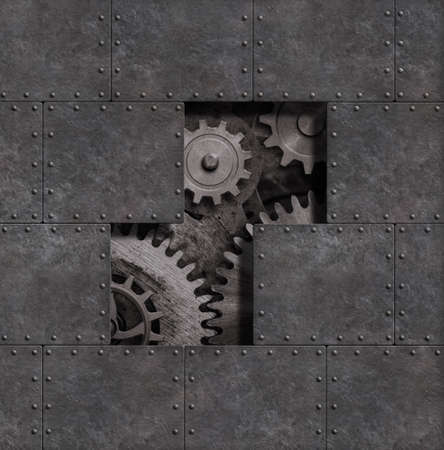 Rusty steam punk metal background with gears and cogs 3d illustration