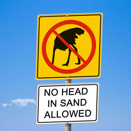 No head in sand allowed ostrich road sign 3d illustration Stock Photo