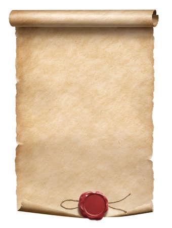Alte Pergamentrolle mit Wachssiegel isoliert auf weiß Standard-Bild