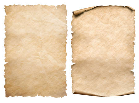 Two vintage paper or parchments isolated on white 写真素材