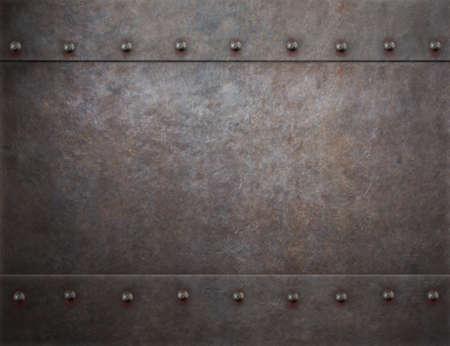 Ilustración 3d de fondo de metal de remaches rústicos Foto de archivo