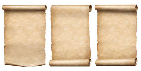 Old paper or parchment scrolls collection isolated on white