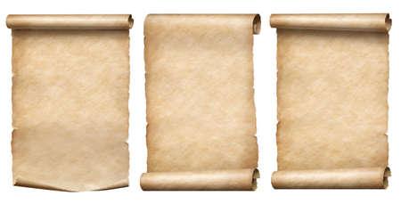 Stara kolekcja zwojów papieru lub pergaminu na białym tle