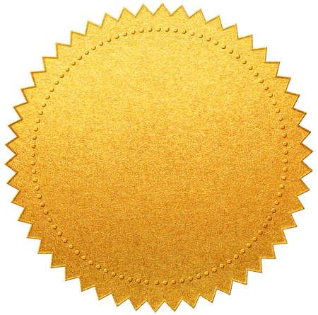 Goldpapierdiplom oder Zertifikatssiegel isoliert