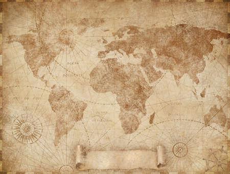 Medieval old world map illustration