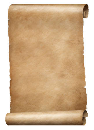 Old brown parchment kings order scroll isolated on white