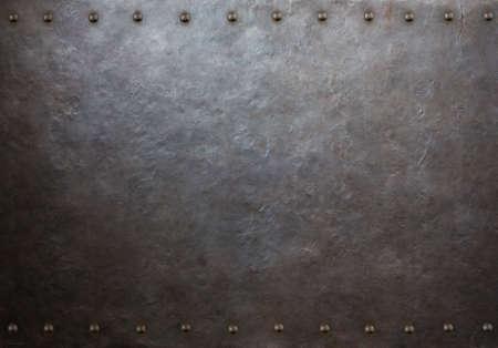rustic metal plate with rivets 3d illustration Zdjęcie Seryjne