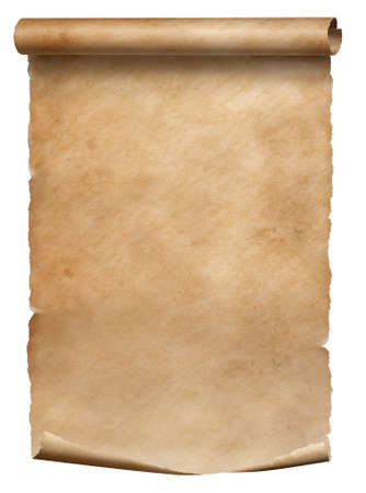 Old parchment diploma scroll isolated on white 写真素材