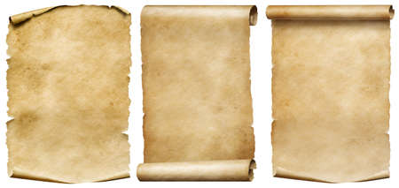 Vintage scrolls or parchment manuscripts set isolated on white 写真素材