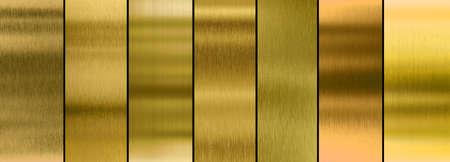 Collezione di sette diverse texture in metallo dorato spazzolato Archivio Fotografico