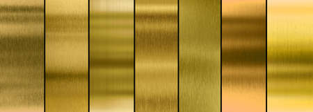 Seven various brushed gold metal textures collection 免版税图像