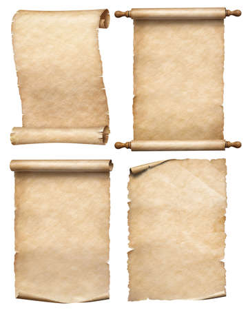 Four paper or old parchment scrolls set isolated on white 写真素材