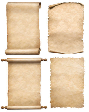Four old papers or parchments set isolated on white