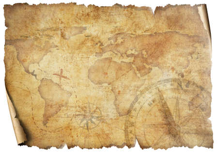Vintage old travel world map isolated on white