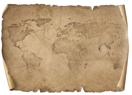 Old world map illustration isolated on white.