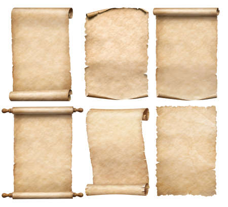 old papers or parchment six scrolls or parchments set isolated 写真素材