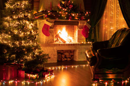 Christmas living room home interior 写真素材
