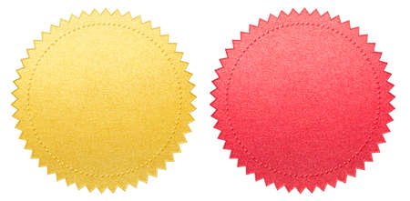 red and gold certificate paper seals set isolated with clipping path included Stockfoto