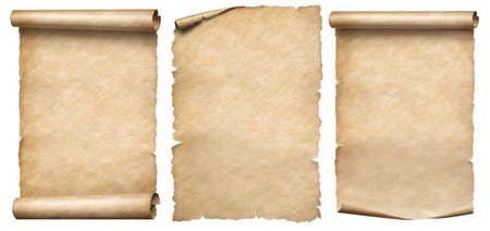 Paper scrolls or vintage parchments set isolated on white 写真素材