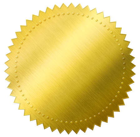 certificat joint ou médaille en feuille d'or isolé avec un tracé de détourage inclus