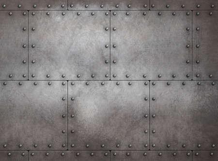 Rustic steampunk metal background 3d illustration
