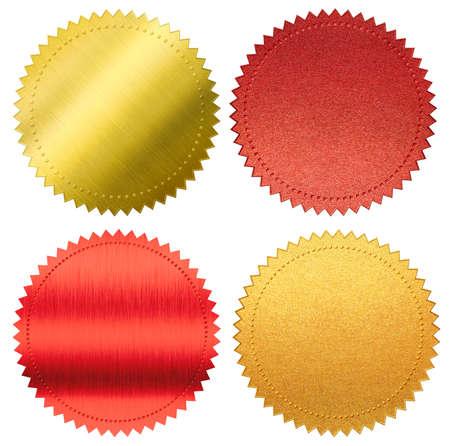 dyplom lub certyfikat metalową folią plomby lub medale zestaw na białym tle