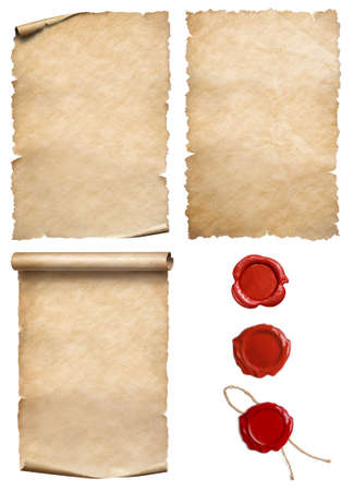 Vintage papers with wax seal stamps set isolated on white Stok Fotoğraf