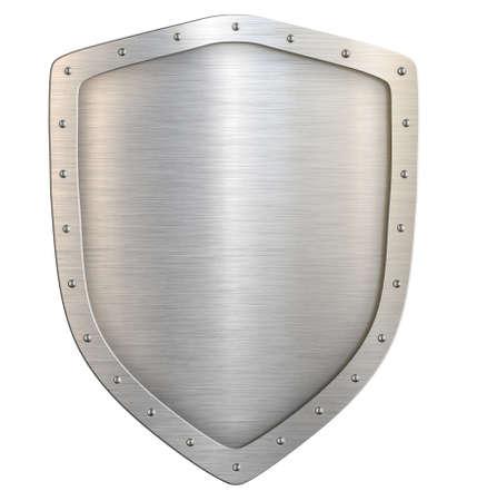 Bouclier classique en métal ou armoiries avec chemin de détourage isolé sur blanc Banque d'images