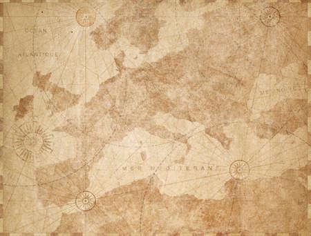 Vintage paper textured Europe map retro background Stock Photo