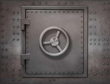 Bank vault or bunker door on metal wall