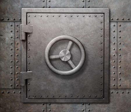 Bank vault or undeground shelter door on steam punk metal background 스톡 콘텐츠