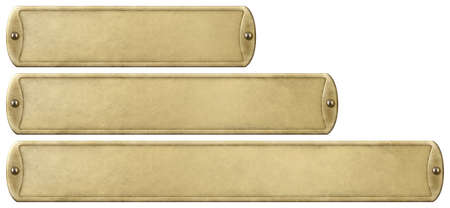 Gold or brass old metal plates set isolated on white with clipping path included