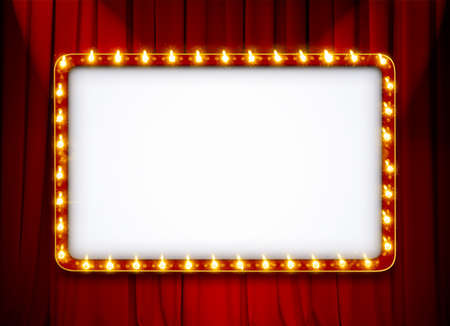 Blank light sign frame on red theatre curtain Foto de archivo - 131227593