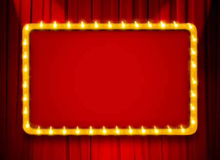 Red light sign with gold frame on theatre or cinema curtain