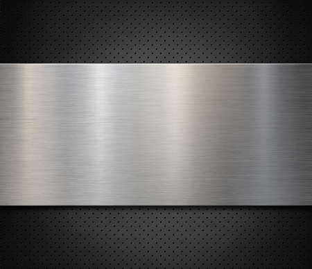 Brushed steel or aluminum metal panel over perforated background 3d illustration Stock Illustration - 131312339