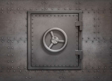 Bank vault or bunker door on metal wall 3d illustration