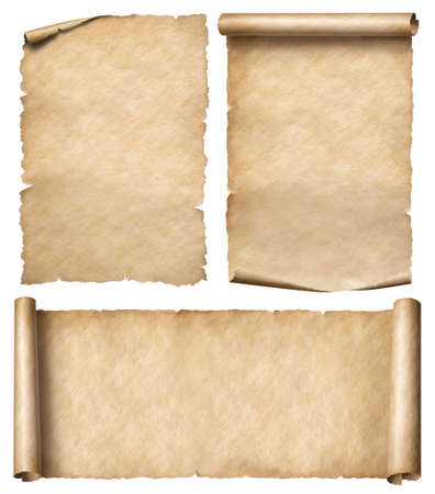 Old paper or parchment scrolls set isolated 写真素材