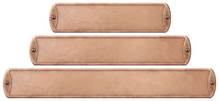Bronze or copper metal plates set isolated