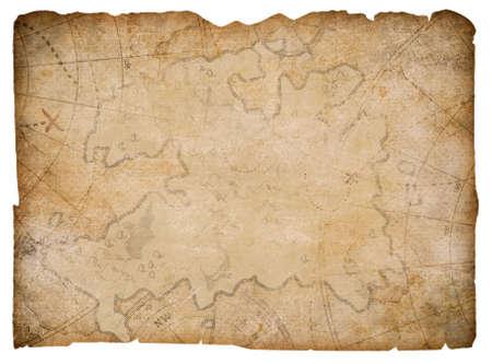 Piratas náuticos mapa del tesoro escondido aislado en blanco Foto de archivo