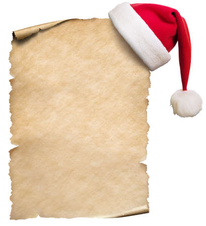 Old blank paper and christmas hat isolated on white