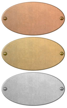 Bronze, gold and silver metal plates set isolated