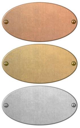 Set di piastre metalliche in bronzo, oro e argento isolate Archivio Fotografico